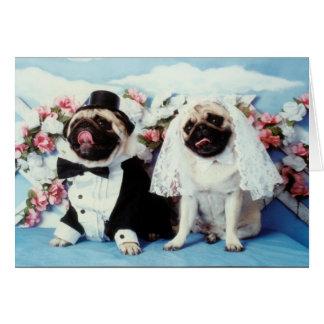 Cartão de casamento do cão do Pug