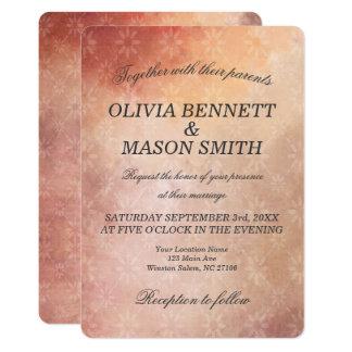 Cartão de casamento floral cor-de-rosa