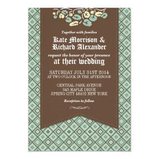 Cartão de casamento floral do fundo clássico do convite 12.7 x 17.78cm