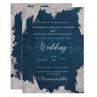 Cartão de casamento no inverno celestial da