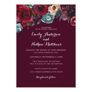 Cartão de casamento outono floral vermelho de
