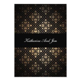 Cartão de casamento preto elegante simples