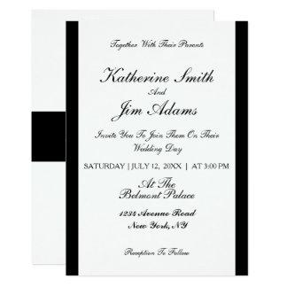 Cartão de casamento preto elegante simples do