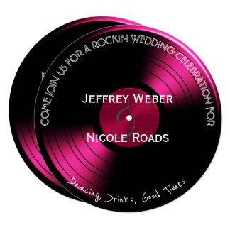 Cartão de casamento retro cor-de-rosa do registro