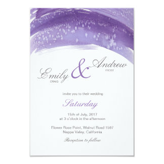 Cartão de casamento violeta da aguarela do