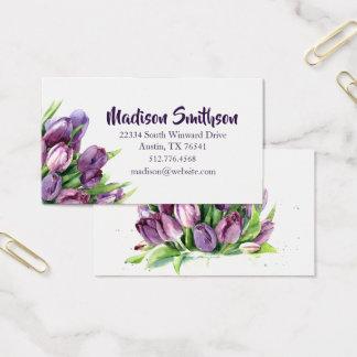 Cartão de chamada floral da aguarela das tulipas