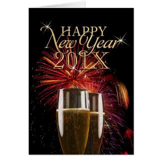 Cartão de Champagne dos fogos-de-artifício do feli