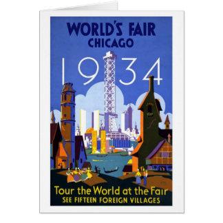 Cartão De Chicago a feira 1934 de mundo