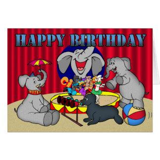 Cartão de Childs do feliz aniversario do elefante