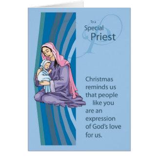 Cartão de Christams do padre com Mary e criança