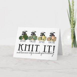 Cartão de confecção de malhas do aniversário dos