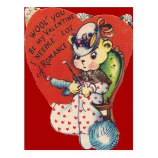 Cartão de confecção de malhas dos namorados do urs cartao postal