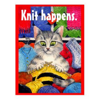 Cartão de confecção de malhas engraçado do gatinho