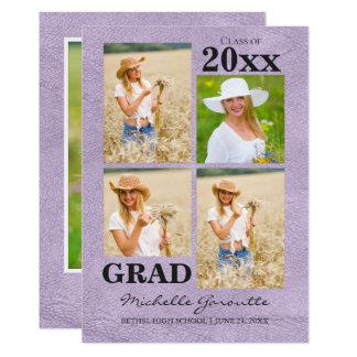 Cartão de couro da graduação da foto do falso da