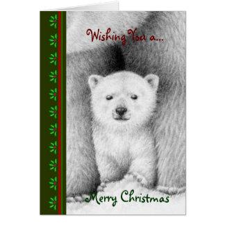 Cartão de Cub de urso polar Chrismas
