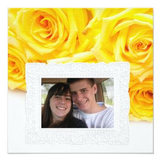 cartão de cumprimento da foto dos rosas amarelos convite quadrado 13.35 x 13.35cm