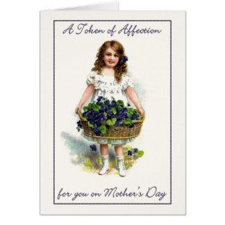 Cartão de cumprimento do dia das mães do vintage
