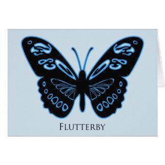 Cartão de cumprimentos azul do fulgor de Flutterby
