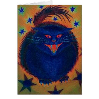 Cartão de cumprimentos azul do gato assustador