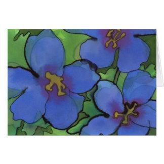 Cartão de cumprimentos azul dos gerânio