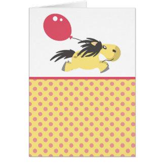 Cartão de cumprimentos bonito do pônei & do balão