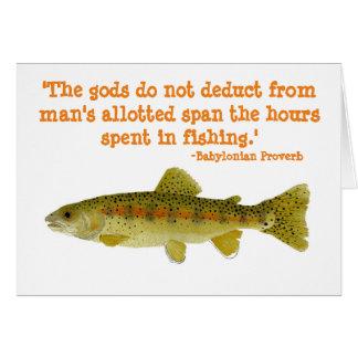 Cartão de cumprimentos cómico sobre a pesca