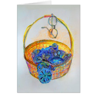 cartão de cumprimentos da cesta do knitter