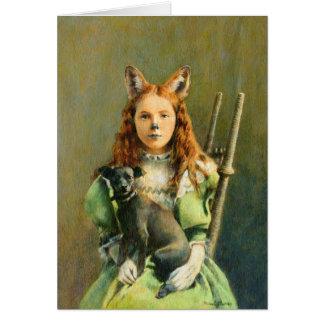 Cartão de cumprimentos da menina do Fox do