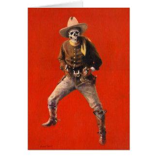 Cartão de cumprimentos de esqueleto do vaqueiro do