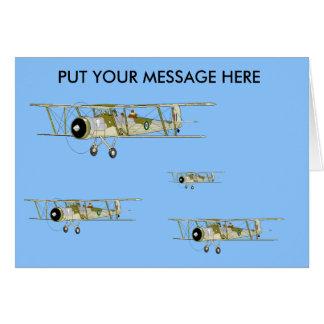 Cartão de cumprimentos do biplano do espadarte