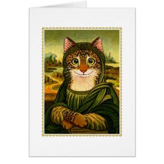 Cartão de cumprimentos do CAT do sorriso de Mona