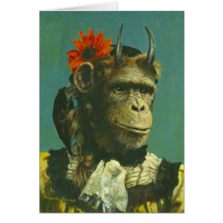 Cartão de cumprimentos do demónio do macaco
