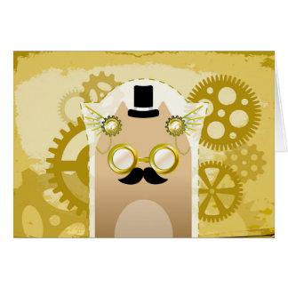 Cartão de cumprimentos do gato de Steampunk