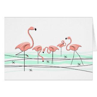 Cartão de cumprimentos do grupo dos flamingos