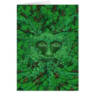 Cartão de cumprimentos do homem verde