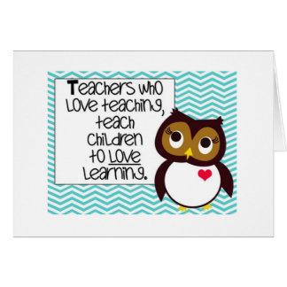 Cartão de cumprimentos do professor da coruja