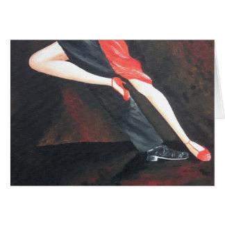 Cartão de cumprimentos dos pés do tango para