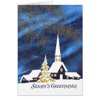 Cartão de cumprimentos nevado da estação da igreja