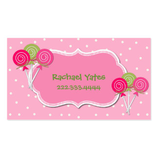 Cartão de data cor-de-rosa e verde do jogo de Loll Cartão De Visita