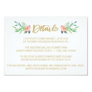 Cartão de detalhe floral do casamento da grinalda