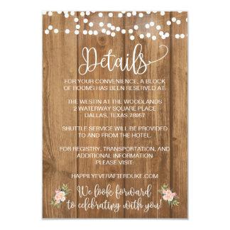 Cartão de detalhe floral e de madeira cor-de-rosa