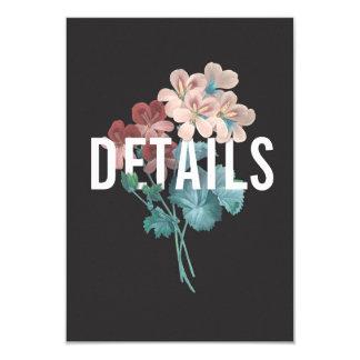 Cartão de detalhes botânico do casamento do abraço