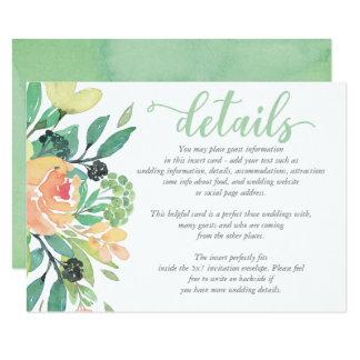 Cartão de DETALHES chique rústico do casamento da