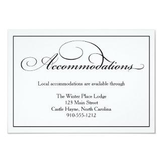 Cartão de detalhes das acomodações do casamento