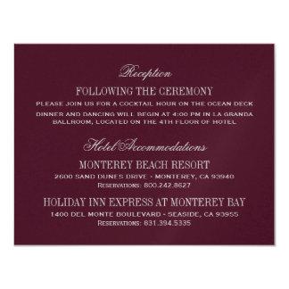 Cartão de detalhes | do casamento Borgonha e prata Convite 10.79 X 13.97cm