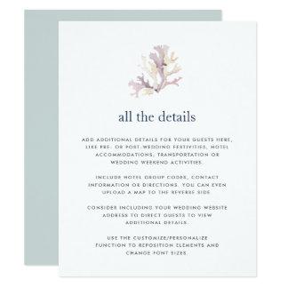 Cartão de detalhes do convidado do casamento do