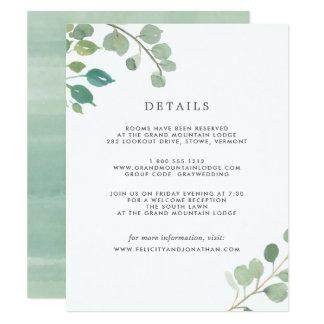 Cartão de detalhes do convidado do eucalipto |