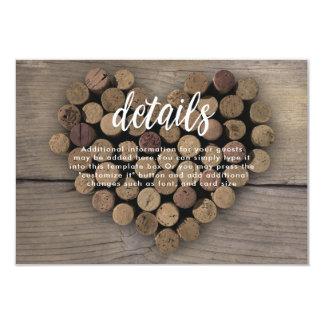 Cartão de detalhes do coração da cortiça do vinho