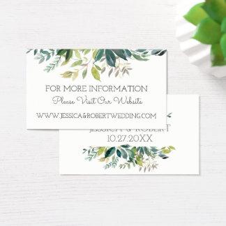 Cartão de detalhes do Web site do casamento do