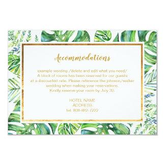 Cartão de detalhes exótico das plantas da aguarela